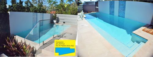 Coorparoo Blue Chip Pebble Pool With Wall Accents