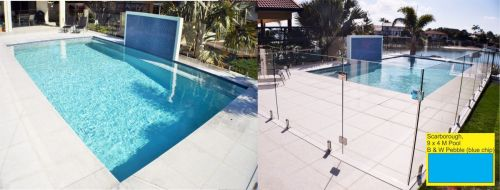 Scarborough Glass Wall Pool With Blue Chip Wall Design