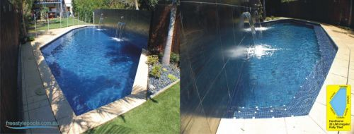 Hawthorne Fully Tiled Irregular Pool Design With Two Water Features