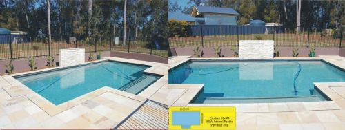 Elimbah Internal Pebble Pool Design With Wrap Around Barred Fence